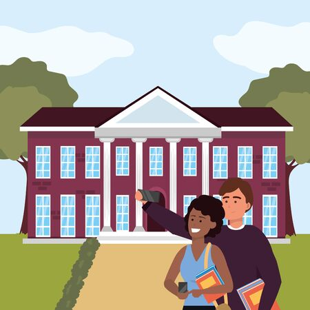 Millennial student afro woman holding book couple using smartphone taking selfie on campus background vector illustration graphic design