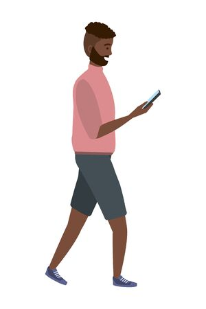 Millennial person using smartphone texting checking social media sweater and shorts vector illustration graphic design