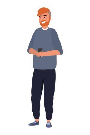 Millennial young person using smartphone browsing social media browsing texting beard sweater redhead vector illustration graphic design Illusztráció