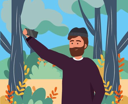 Millennial young person using smartphone browsing social media browsing taking selfie beard sweater portrait nature background park trees vector illustration graphic design Illusztráció
