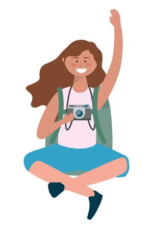 Tourist girl cartoon with bag design Illusztráció