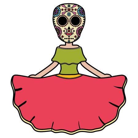 traditional katrina mexican character vector illustration design  イラスト・ベクター素材