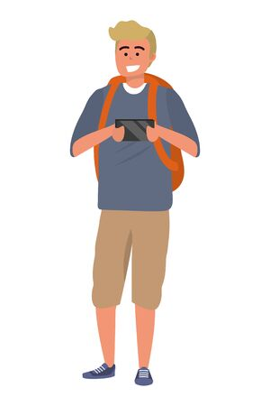 Millennial student using smartphone isolated