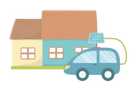Eco car and save planet design Çizim