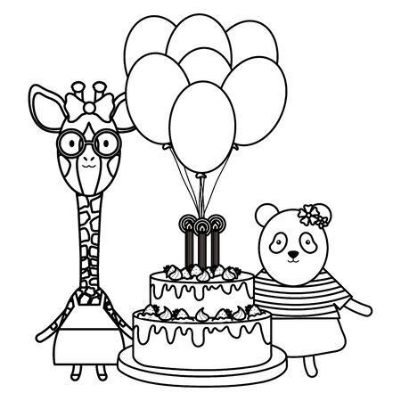 cute sheep and giraffe with panda in birthday party vector illustration design Foto de archivo - 129487722