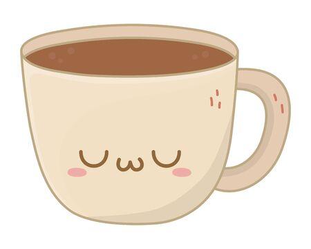 Kawaii of coffee cup cartoon design Ilustração