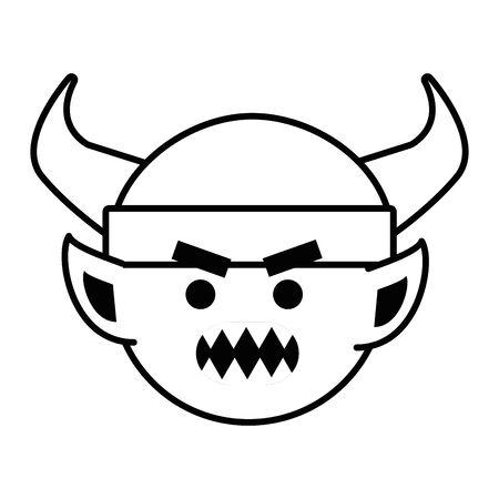 Troll cartoon with viking helmet design vector illustration Vettoriali