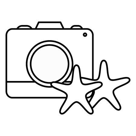 camera photographic with starfish shells