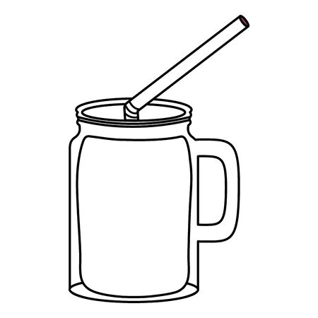 fresh juice fruit jar with straw