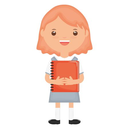 cute little student girl with notebook vector illustration design