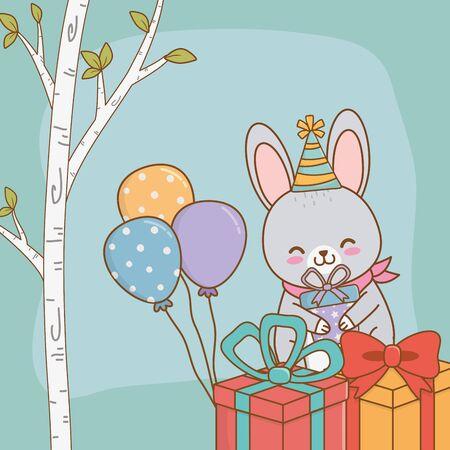 birthday card with cute rabbit woodland vector illustration design