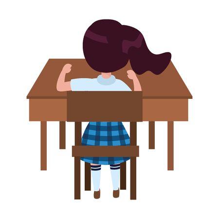 Girl kid of school in desk design