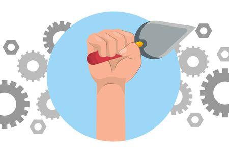 construction architectural tool trowel cartoon vector illustration graphic design Banque d'images - 129496522