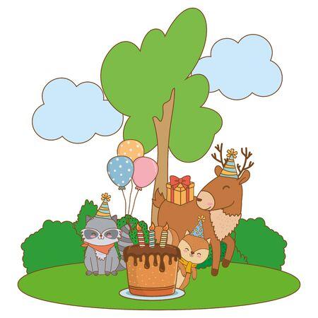 cute adorable animals birthday party outdoor scene festive cartoon vector illustration graphic design Stock Illustratie