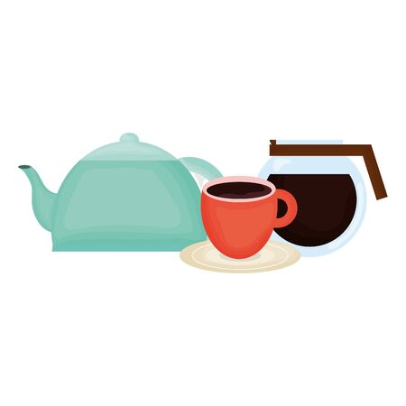 kitchen teapot with coffee maker vector illustration design