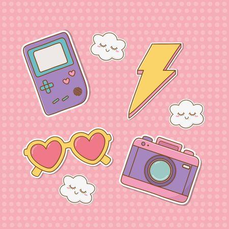 set of stickers kawaii vector illustration design