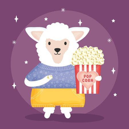 cute sheep with pop corn character vector illustration design Stock Illustratie