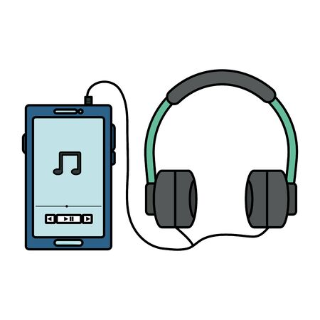 smartphone with music player application and earphones vector illustration design