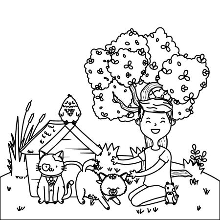 childhood happy child boy with little animals pets at outdoor scene cartoon vector illustration graphic design