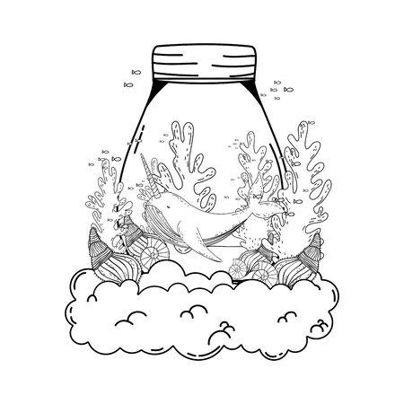 cute narval in mason jar