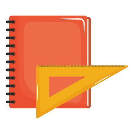 cuaderno escolar con regla Ilustración de vector
