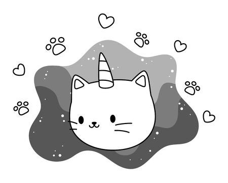Unicorn cat cartoon vector design