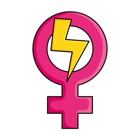 female gender symbol with thunder ray pop art style