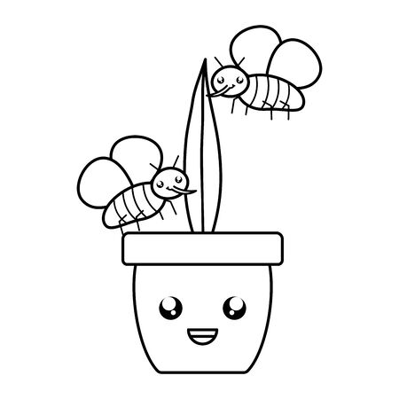 house plant in ceramic pot with insects flying style Çizim