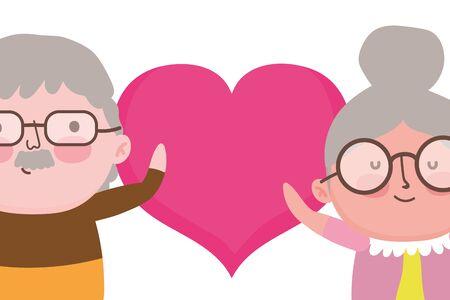 Grandmother and grandfather cartoon vector design