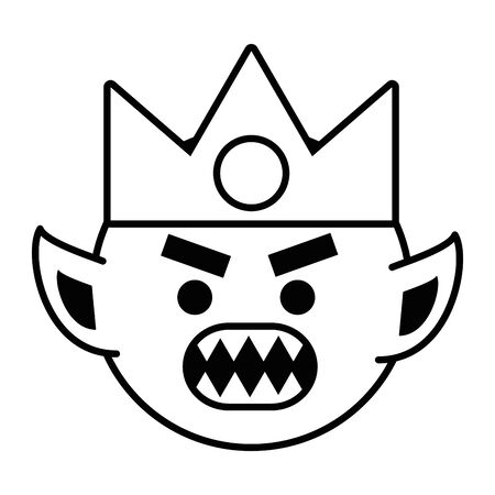 Troll cartoon with viking helmet design vector illustration Ilustração
