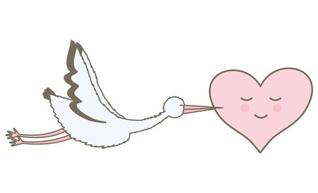 stork bird flying with heart Standard-Bild - 129587332