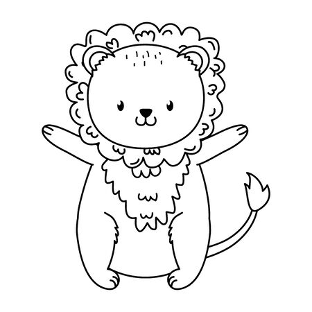 cute lion woodland character