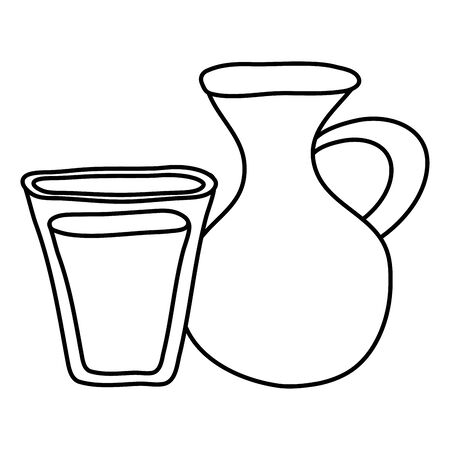 jar pot with water glass Ilustrace