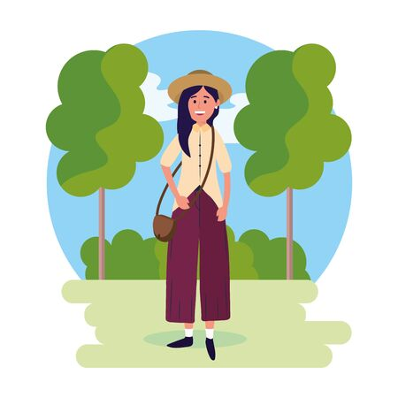 woman wearing hat with bag and trees with bushes vector illustration