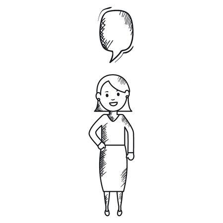 monochrome woman with speech bubble avatar character vector illustration design