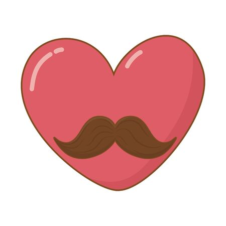 heart with moustache