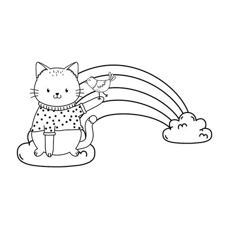 cute cat in cloud with rainbow woodland character Foto de archivo - 129587990