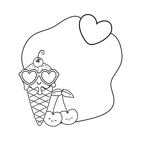 ice cream cherries and sunglasses frame black and white