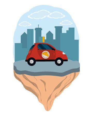 delivery transport cartoon Ilustrace