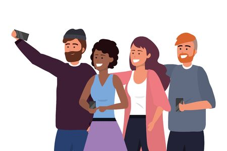Millennial group using smartphone taking selfie posing together smiling happy sweater beard afro redhead vector illustration graphic design