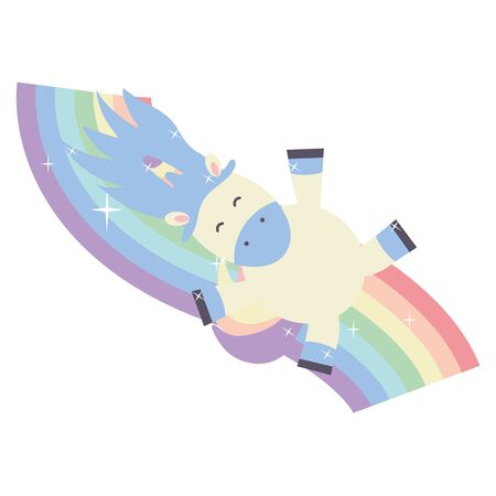 cute adorable unicorn and rainbow