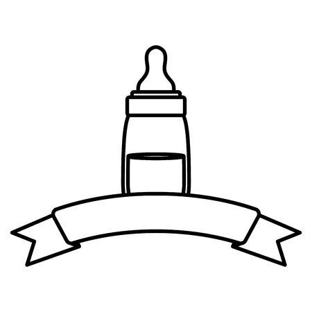 baby bottle milk with ribbon frame vector illustration design