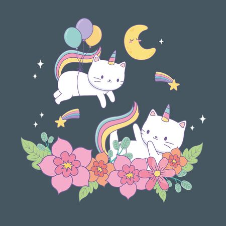 cute cat unicorn with floral decoration at night vector illustration design