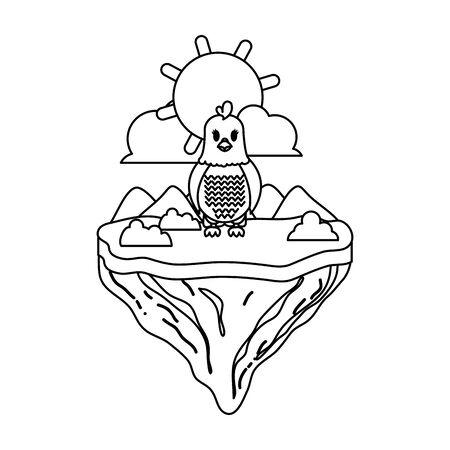 line female hen animal in float island vector illustration