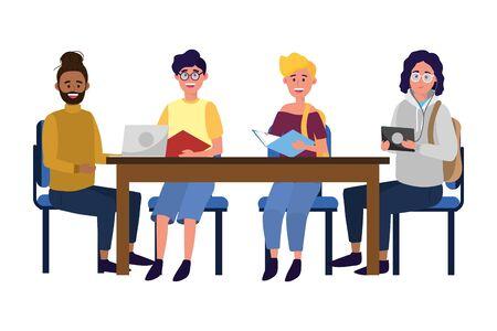 young people friends reading over desk cartoon vector illustration graphic design Ilustración de vector