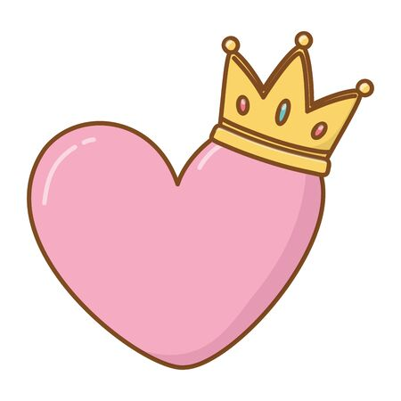 heart and crown icon cartoon vector illustration graphic design