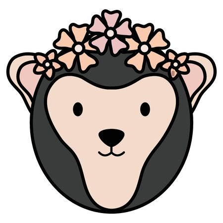 cute female monkey childish character vector illustration design Çizim