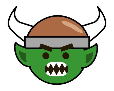 Troll with viking helmet design, Cartoon character monster goblin and fantasy theme Vector illustration Ilustração