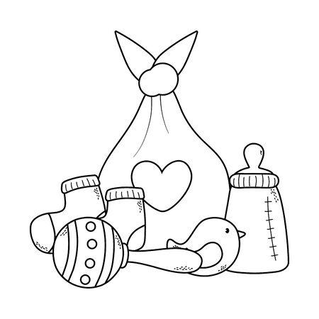 cute baby shower concept elements cartoon vector illustration graphic design Ilustração