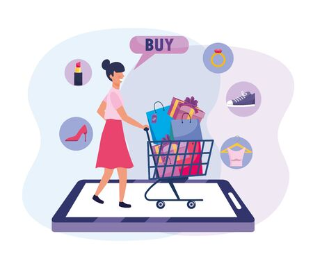 woman with shopping cart and bags to ecommerce technology vector illustration Ilustração